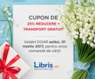 25% reducere si transport gratuit doar azi la Libris